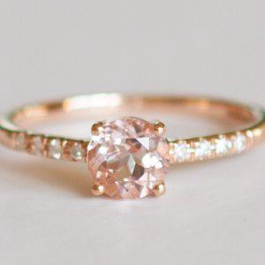 Round Morganite and Diamond Ring