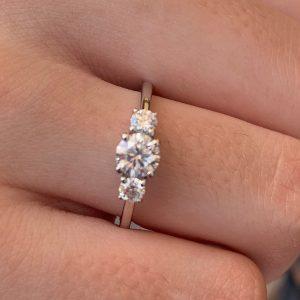 Three stone moissanite ring