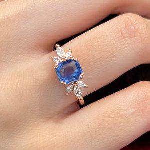 Alessandra Ceylon Sapphire and Marquise Diamond Ring