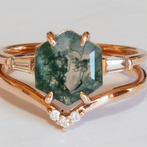 Hexagon Moss Agate and diamond ring set