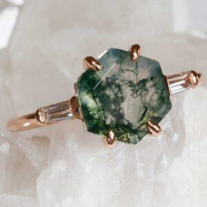 Hexagon Moss Agate and diamond ring