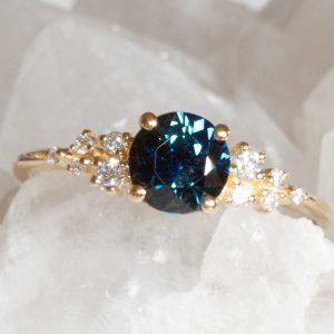 Mirabella Teal sapphire ring