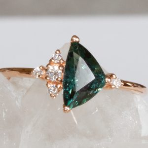 Teal Trilliant Sapphire and Diamond Ring